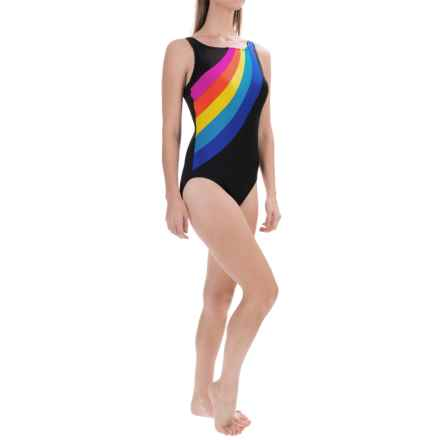 Longitude Color-Block High-Neck One-Piece Swimsuit (For Women) in Multi - Closeouts