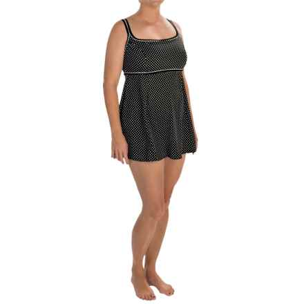Longitude Dot-to-Dot Empire Swim Dress (For Plus Size Women) in Black/White - Closeouts
