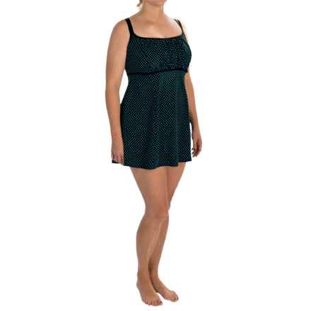 Longitude Dot-to-Dot Empire Swim Dress (For Plus Size Women) in Turquoise - Closeouts