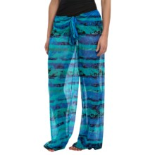 Longitude Mesh Tie-Front Pants (For Women) in Ocean Tide - Closeouts