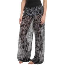 Longitude Mesh Tie-Front Pants (For Women) in Royal Scroll - Closeouts