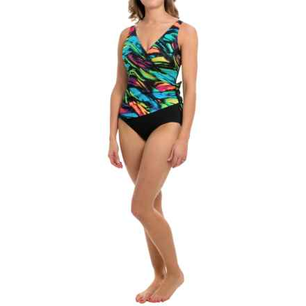 Longitude Modern Art One-Piece Swimsuit - Side Tie Surplice (For Women) in Multi - Closeouts