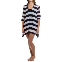 Longitude Nautical Mesh Cover-Up Dress - 3/4 Sleeve (For Women) in Navy - Closeouts