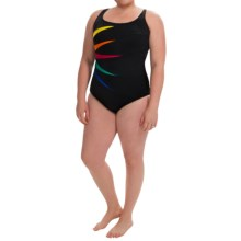 Longitude On the Fold Fan One-Piece Swimsuit (For Plus Size Women) in Multi - Closeouts