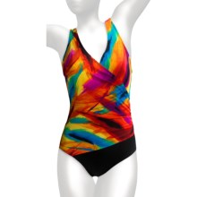 Longitude One-Piece Swimsuit - Crossover V-Neck (For Women) in Multi - Closeouts