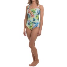 Longitude Romantic One-Piece Swimsuit - Shirred X-Back (For Women) in Multi - Closeouts