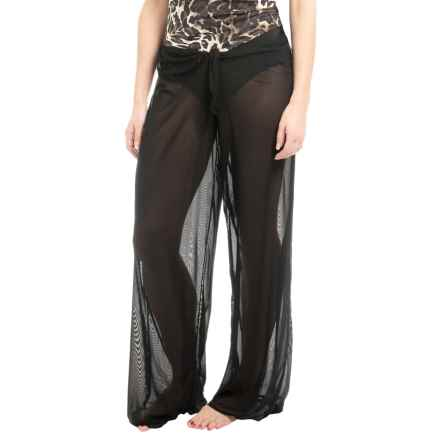 Longitude Solid Mesh Tie-Front Pants (For Women) in Black - Closeouts