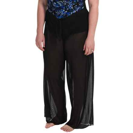 Longitude Solid Mesh Tie Pants Cover-Up (For Plus Size Women) in Black - Closeouts