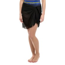 Longitude Tie-Front Mesh Sarong (For Women) in Black - Closeouts