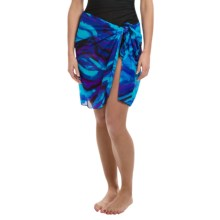 Longitude Tie-Front Mesh Sarong (For Women) in Cool Water - Closeouts