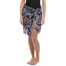 Longitude Tie-Front Mesh Sarong (For Women) in Royal Scroll - Closeouts