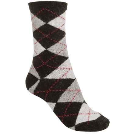Lorenzo Donna Argyle Socks - Cashmere Blend, Crew (For Women) in Black - Closeouts