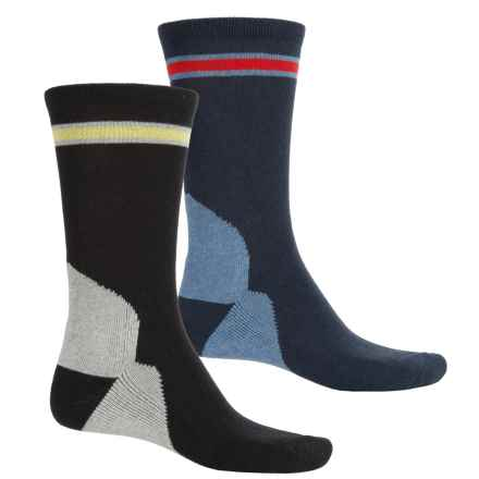 Lorenzo Uomo Outdoor Adventure Socks - 2-Pack, Crew (For Men) in Navy/Black - Closeouts