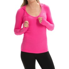 Lorna Jane Catalina Excel Hooded Shirt - Long Sleeve (For Women) in Shocking Pink Marl - Closeouts