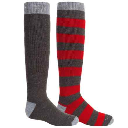 Lorpen Classic Ski Socks - 2-Pack, Merino Wool Blend, Over the Calf (For Little and Big Kids) in Red/Grey - 2nds