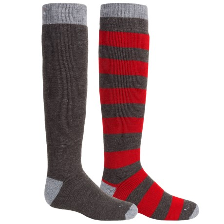 Lorpen Classic Ski Socks - 2-Pack, Merino Wool Blend, Over the Calf (For Little and Big Kids) in Red/Grey