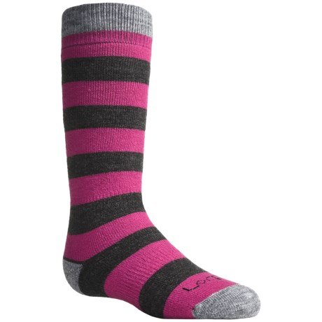 Lorpen Classic Ski Socks - Merino Wool, 2-Pack (For Kids and Youth) in Fuchsia Stripe