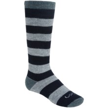 Lorpen Classic Ski Socks - Merino Wool, 2-Pack (For Kids and Youth) in Grey Stripe - 2nds