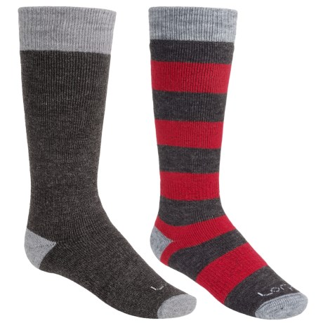 Lorpen Classic Ski Socks - Merino Wool, 2-Pack (For Kids and Youth) in Red Stripe/Charcoal