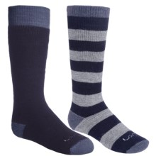 Lorpen Classic Ski Socks - Merino Wool, 2-Pack (For Little and Big Kids) in Navy/Grey Stripe - 2nds