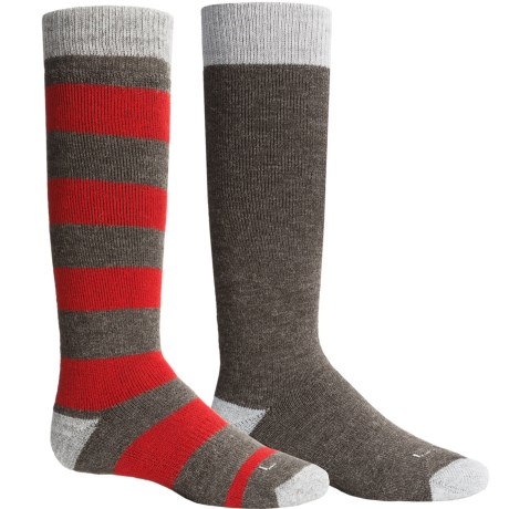 Lorpen Classic Ski Socks - Merino Wool, 2-Pack (For Little and Big Kids) in Red/Grey
