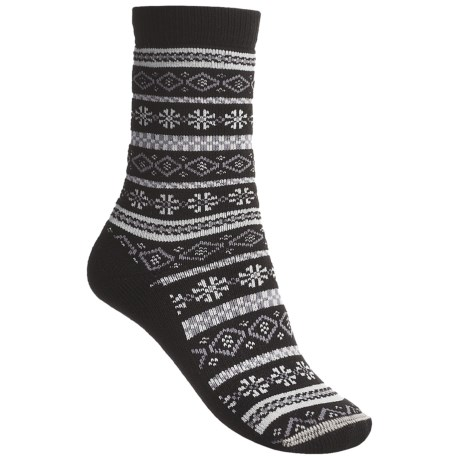 Lorpen Comfort Life Fair Isle Socks - Modal-Cotton, Crew (For Women) in Black