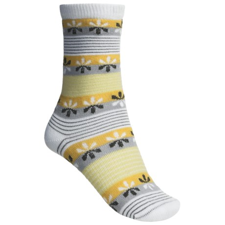 Lorpen Comfort Life Virginia Socks - Modal-Cotton, Crew (For Women) in White/Goldenrod