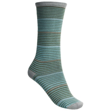 Lorpen Comfort Lite Katie Socks - Crew (For Women) in Capri Blue Stripe