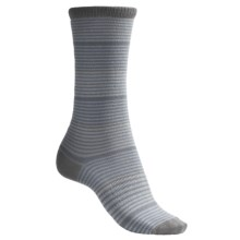 Lorpen Comfort Lite Katie Socks - Crew (For Women) in Pale Blue Stripe - 2nds