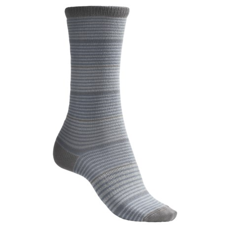 Lorpen Comfort Lite Katie Socks - Crew (For Women) in Pale Blue Stripe