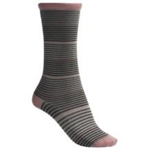 Lorpen Comfort Lite Katie Socks - Crew (For Women) in Pink Stripe - 2nds