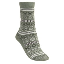 Lorpen Fairisle Socks - Modal- Cotton (For Women) in Mint - 2nds