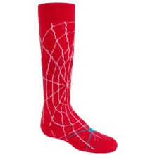 Lorpen Junior Ski Socks - Merino Wool, Mid Calf (For Little and BIg Kids) in Spidey Red - 2nds