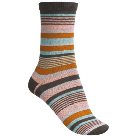 Lorpen Leah Socks - Crew (For Women) in Coco Stripe