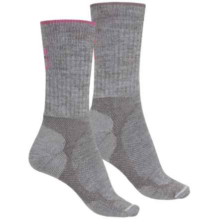 Lorpen Light-Midweight Hiking Socks - 2-Pack, Merino Wool, Crew  (For Men and Women) in Grey Heather/Pink - Closeouts