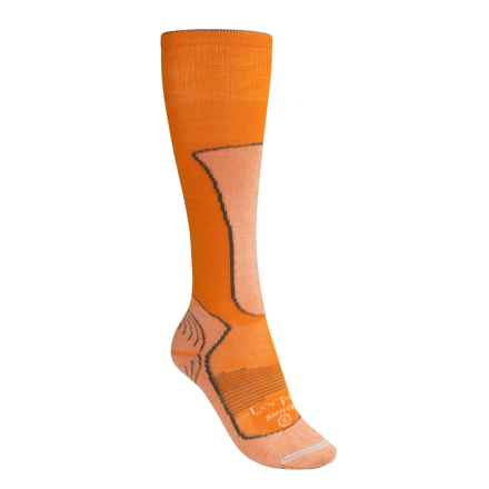 Lorpen Lightweight Ski Socks - Merino Wool-Silk, Over the Calf (For Women) in Tangerine - Closeouts
