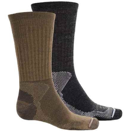 Lorpen Merino Wool Hiker Socks - 2-Pack, Crew (For Men and Women) in Anthracite/Brown - 2nds