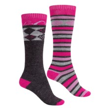 Lorpen Merino Wool Ski Socks - 2-Pack, Over the Calf (For Men and Women) in Berry Charcoal - 2nds