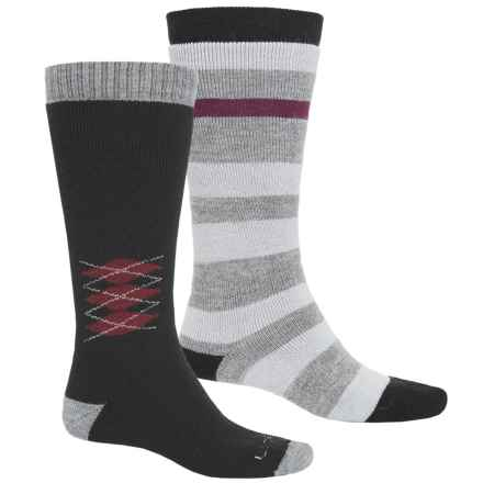 Lorpen Merino Wool Ski Socks - 2-Pack, Over the Calf (For Men and Women) in Black Stripe - 2nds