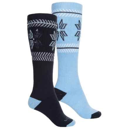 Lorpen Merino Wool Ski Socks - 2-Pack, Over the Calf (For Men and Women) in Ice Blue - 2nds