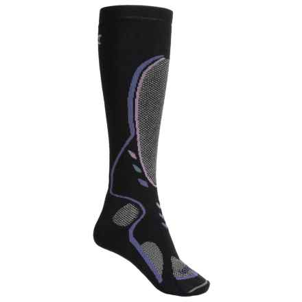 Lorpen Midweight Ski Socks - Merino Wool Blend, Over the Calf (For Women) in Black - 2nds