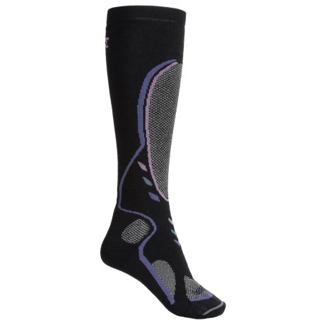 Lorpen Midweight Ski Socks - Merino Wool Blend, Over the Calf (For Women) in Black