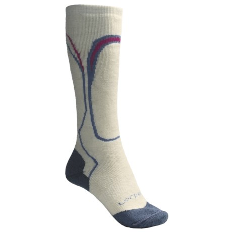 Lorpen Midweight Ski Socks - Merino Wool, Over the Calf (For Women) in White