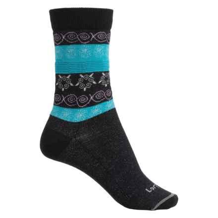 Lorpen Outdoor Lifestyle Fair Isle Socks - Merino Wool Blend, Crew (For Women) in Black - Closeouts