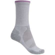 Lorpen Sail Light Hiking Socks - Merino Wool Blend, Crew (For Women) in Light Grey/Grey/Light Purple - Closeouts