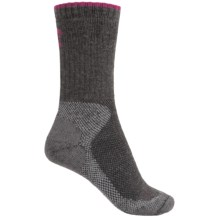 Lorpen Sail Mid Hiking Socks - Merino Wool Blend, Crew (For Women) in Dark Grey/Pink - Closeouts