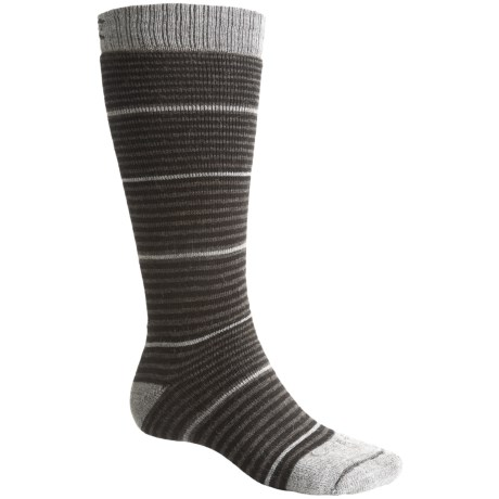 Lorpen Ski-Snowboard Socks - Italian Wool, 2-Pack (For Men and Women) in Black/Charcoal Stripes