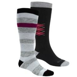 Lorpen Ski-Snowboard Socks - Italian Wool, 2-Pack (For Men and Women) in Black Stripes