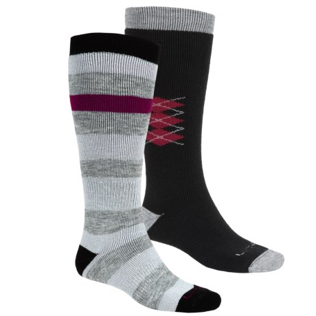 Lorpen Ski-Snowboard Socks - Italian Wool, 2-Pack (For Men and Women) in Black Stripes