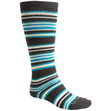 Lorpen Ski-Snowboard Socks - Italian Wool, 2-Pack (For Men and Women) in Black/Yellow/Teal Stripes